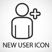 Simple add new user icon, vector