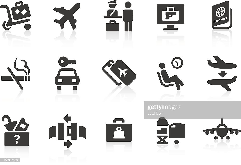 Simple airport and travel vector icons