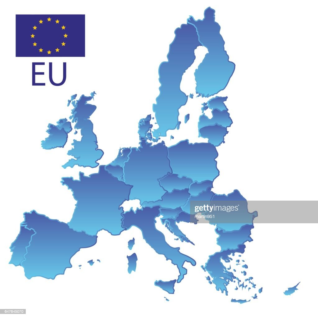 simple all european union countries in one blue map with borders eps10