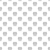 Simple ancient column seamless pattern with various icons and symbols on white background flat vector illustration