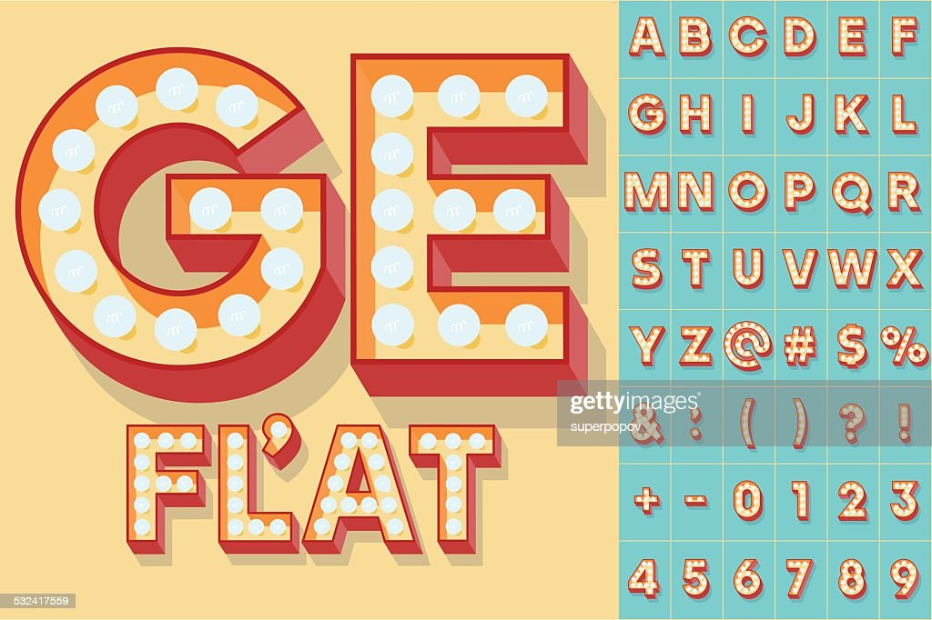 Simple and clear flat lamp alphabet