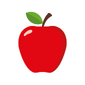 Simple Apple in flat style. Vector illustration