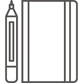 Simple artistic and hobby Vector line artIcon. Classic marker with sketchbook for drawing. line art style icon. 48x48 Pixel Perfect.