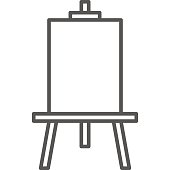 Simple artistic and hobby Vector line art Icon. Drawing easel for painting. line art style icon. 48x48 Pixel Perfect.