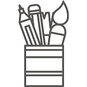 Simple artistic and hobby Vector line art Icon. Pot with markers, pencils and brushes for drawing and painting. line art style icon. 48x48 Pixel Perfect.