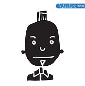 Simple avatar icon, vector illustration silhouette black