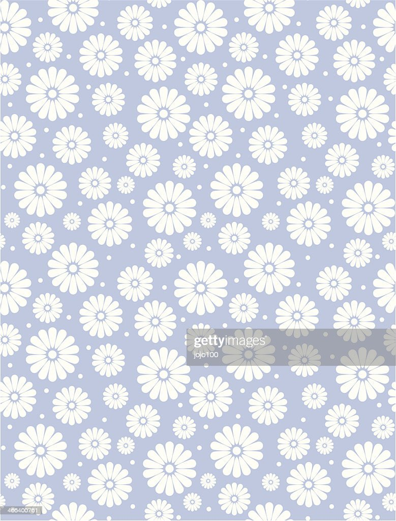Simple Baby Blue Daisy Polka Repeat Pattern