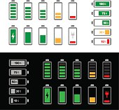 simple battery icon set