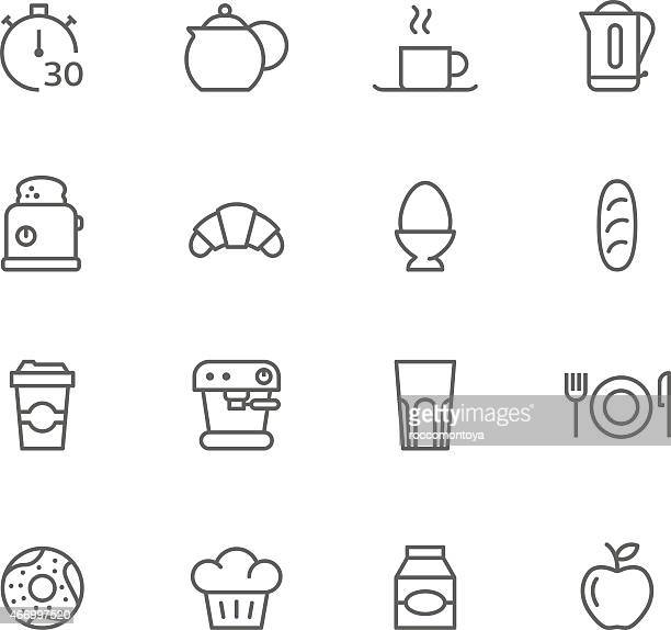 Simple black and white cartoons of breakfast items