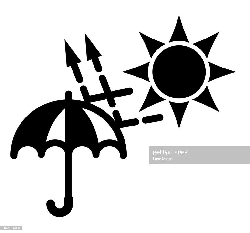Simple black and white sun (uva, uvb) protection icon. Sun rays with arrows bouncing from umbrella.