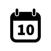 Simple black calendar icon with 10 date isolated on white