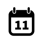 Simple black calendar icon with 11 date isolated on white