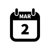 Simple black calendar icon with 2 march date isolated on white