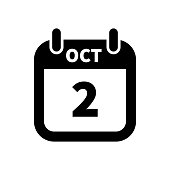 Simple black calendar icon with 2 october date isolated on white