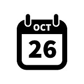 Simple black calendar icon with 26 october date isolated on white