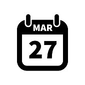 Simple black calendar icon with 27 march date isolated on white