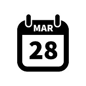 Simple black calendar icon with 28 march date isolated on white