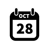 Simple black calendar icon with 28 october date isolated on white