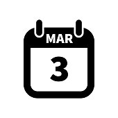 Simple black calendar icon with 3 march date isolated on white