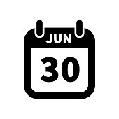Simple black calendar icon with 30 june date isolated on white