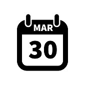 Simple black calendar icon with 30 march date isolated on white