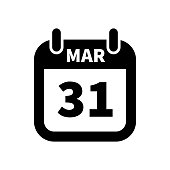 Simple black calendar icon with 31 march date isolated on white