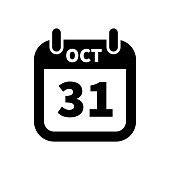 Simple black calendar icon with 31 october date isolated on white