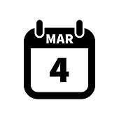 Simple black calendar icon with 4 march date isolated on white