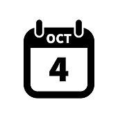 Simple black calendar icon with 4 october date isolated on white