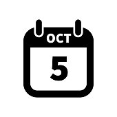 Simple black calendar icon with 5 october date isolated on white