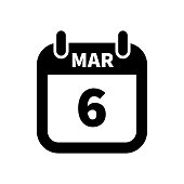 Simple black calendar icon with 6 march date isolated on white