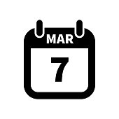 Simple black calendar icon with 7 march date isolated on white