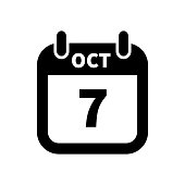 Simple black calendar icon with 7 october date isolated on white