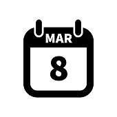 Simple black calendar icon with 8 march date isolated on white
