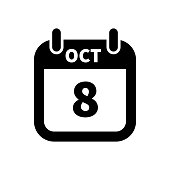 Simple black calendar icon with 8 october date isolated on white