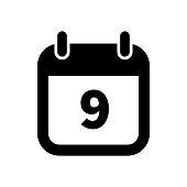 Simple black calendar icon with 9 date isolated on white