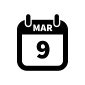 Simple black calendar icon with 9 march date isolated on white