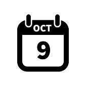 Simple black calendar icon with 9 october date isolated on white