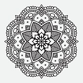 Simple black floral orient mandala