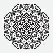 Simple black floral orient mandala