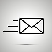 Simple black icon of send letter