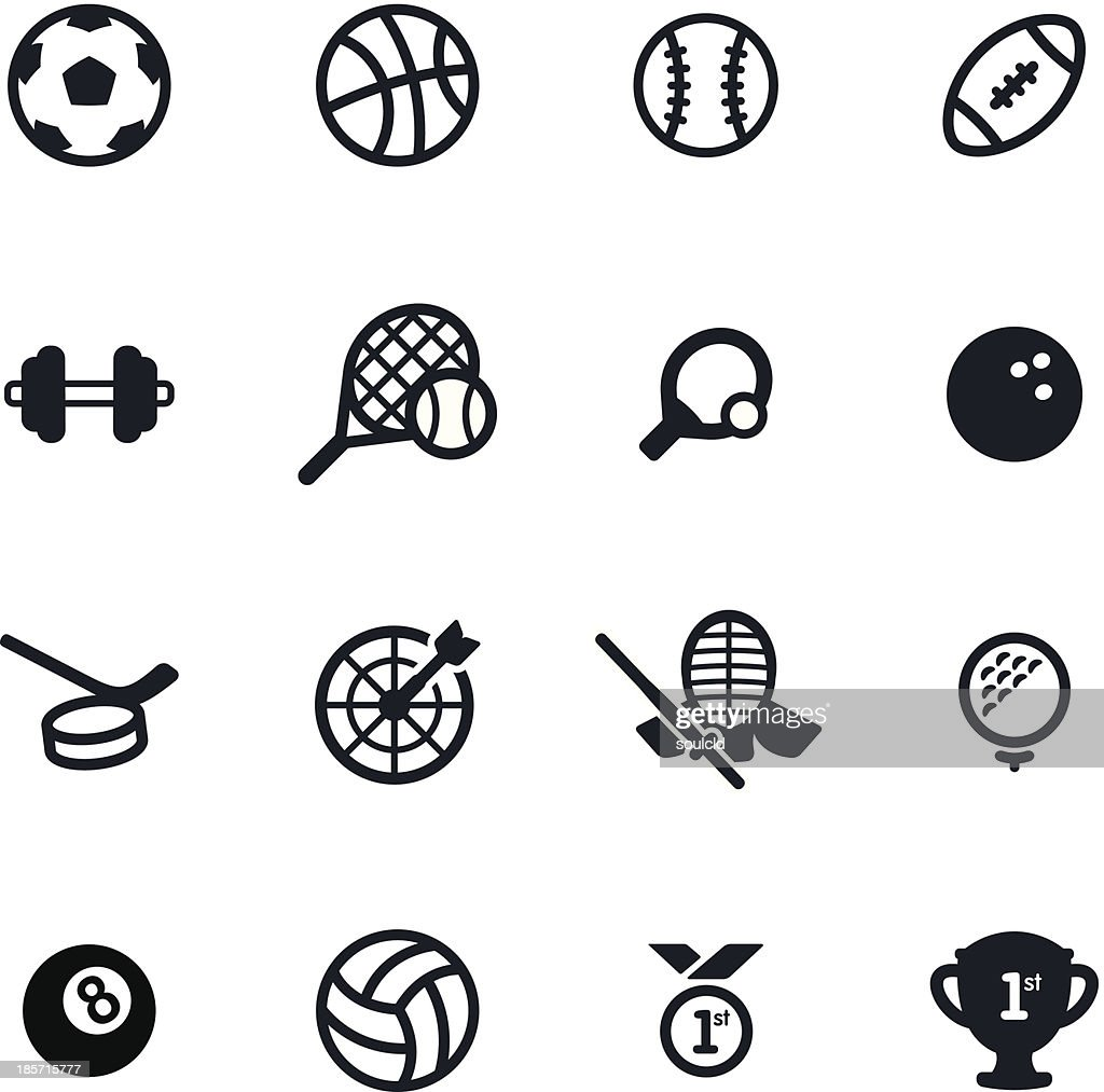16 simple black sports icons on a white background