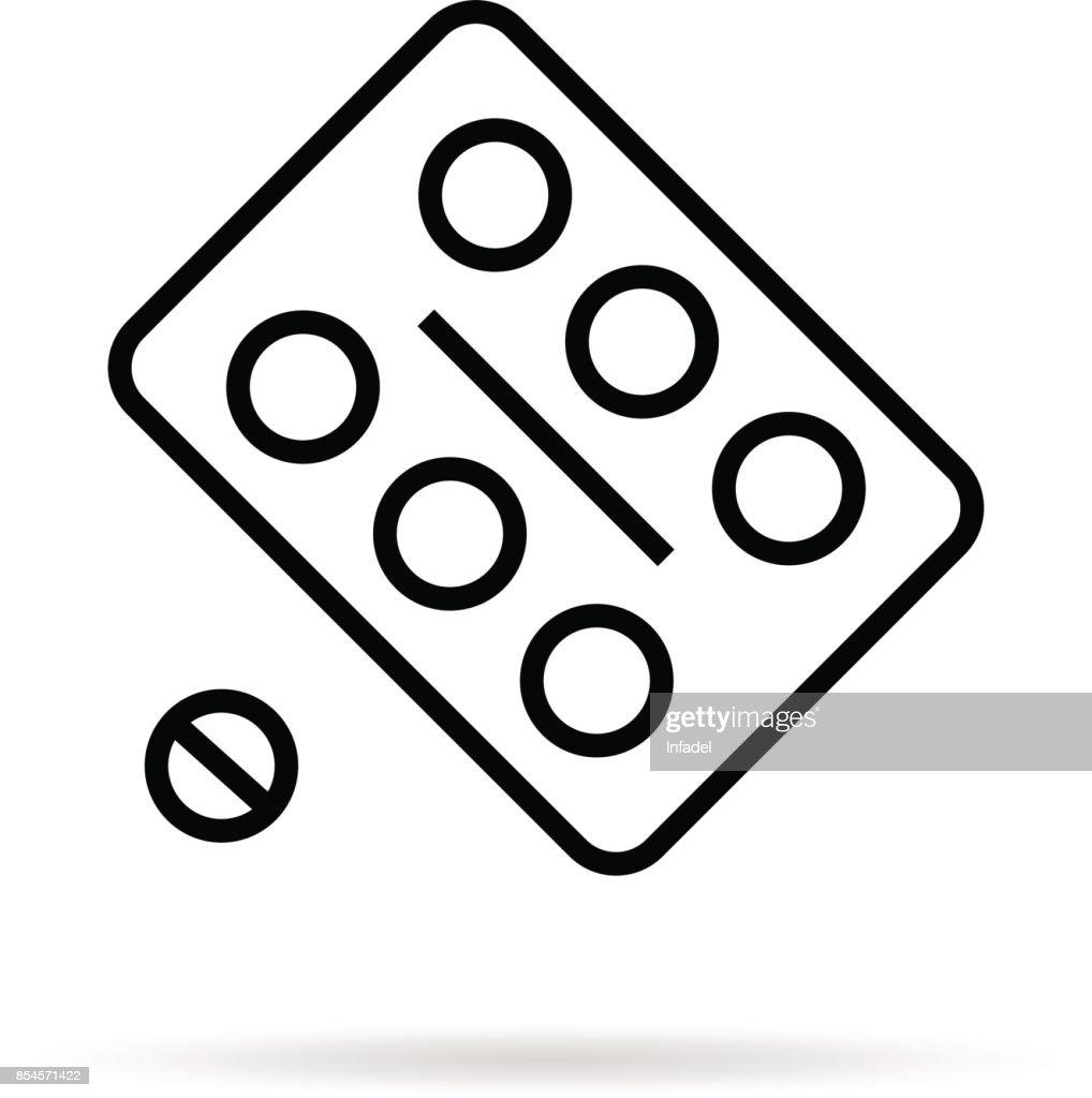 simple black thin line pill blister