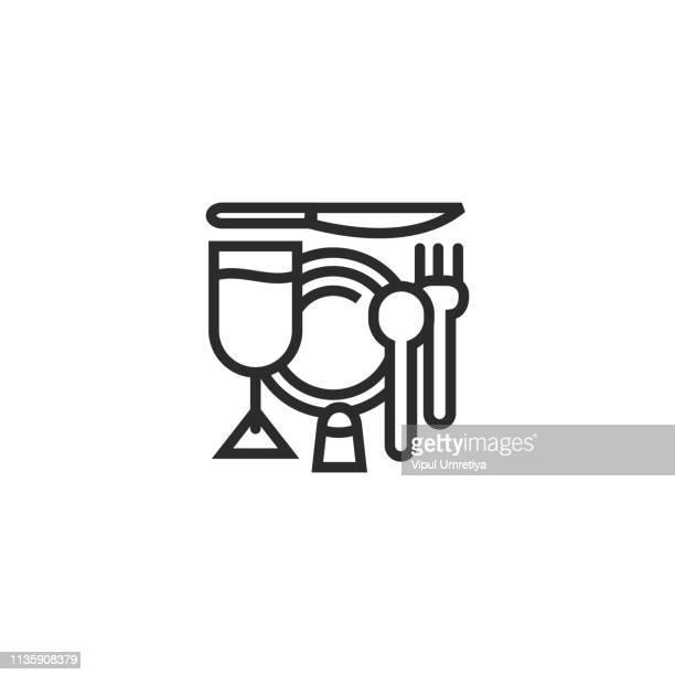 simple black thin line restaurant symbol - gourmet food stock illustrations, clip art, cartoons, & icons