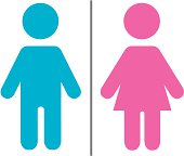Simple blue and pink male and female symbols