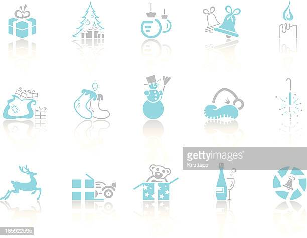 simple blue – christmas - goodie bag stock illustrations, clip art, cartoons, & icons