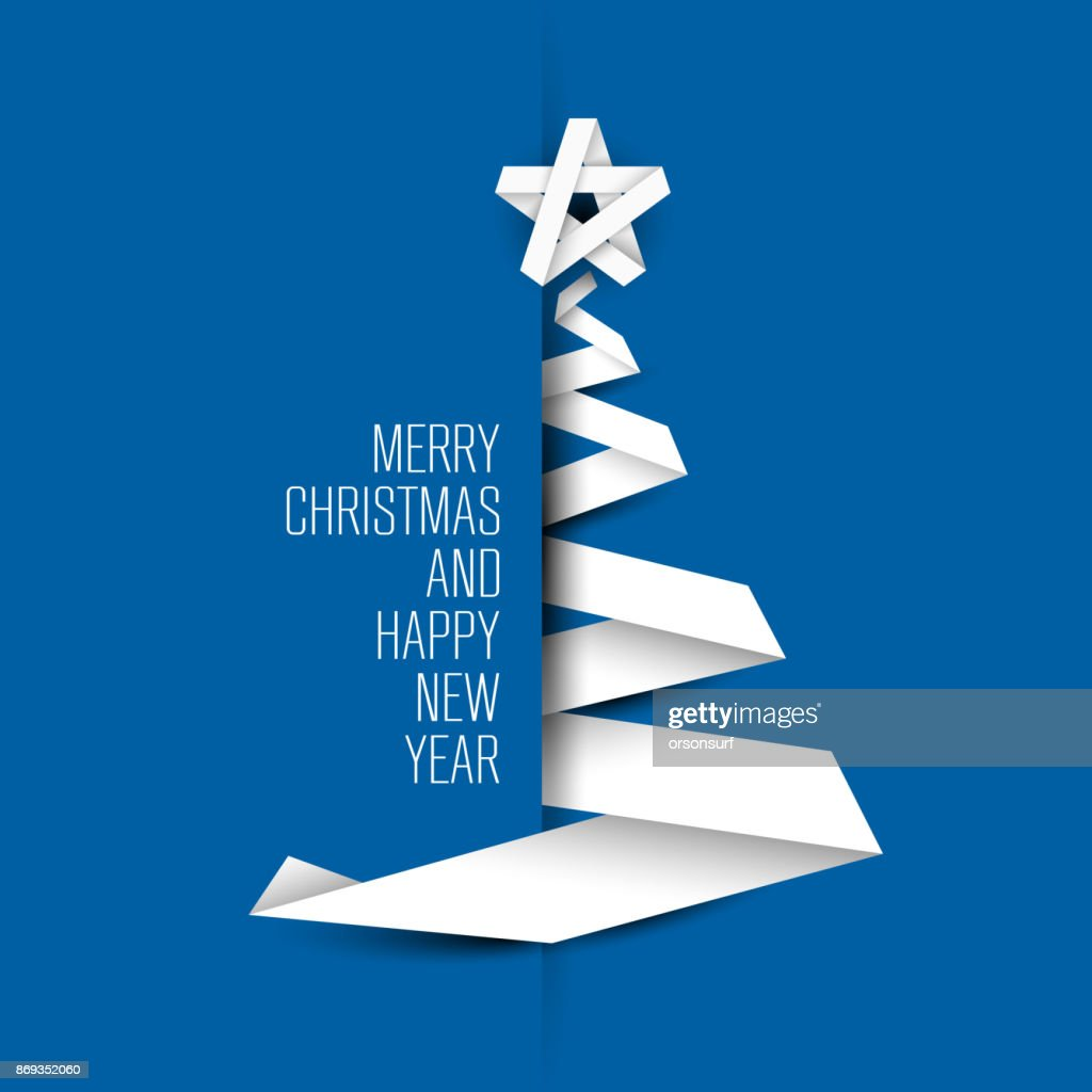 Simple blue vector card with christmas tree made from paper stripe