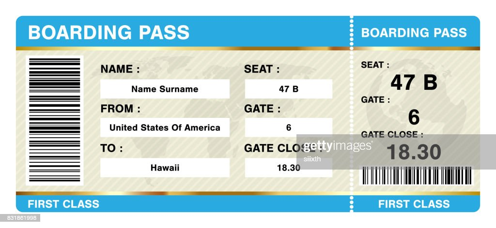 simple boarding pass ticket on white background