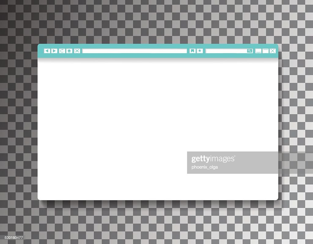 Simple Browser window on transparent background. Vector 10 EPS