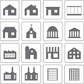 Simple building icons set. Vector illustration.